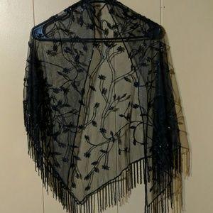 Black beaded shaw